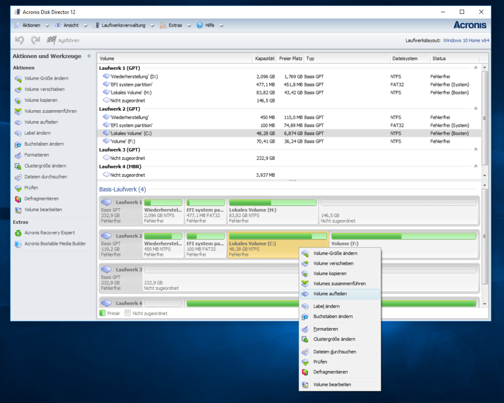 Partition teilen Acronis Disk Director Partitionsmanager