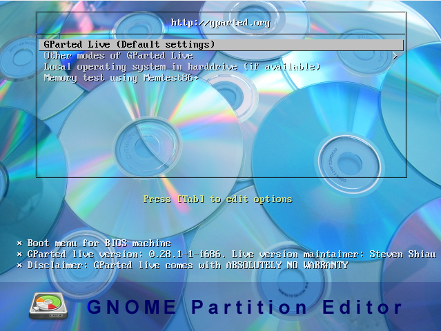 Partitionsmanager GParted Boot CD DVD USb