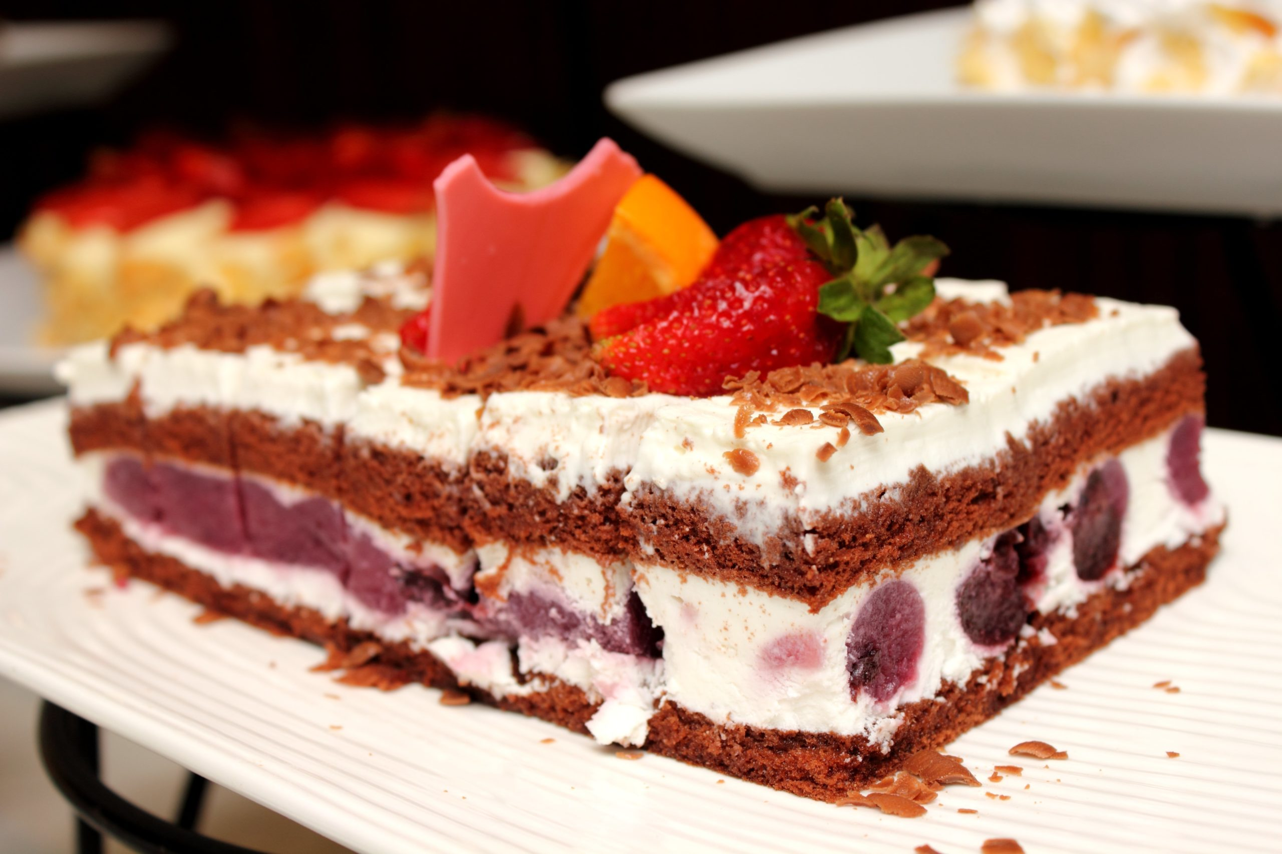 Blackforest, chocolate cake with cherries in it.