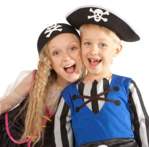 Two Children in Pirates Costumes