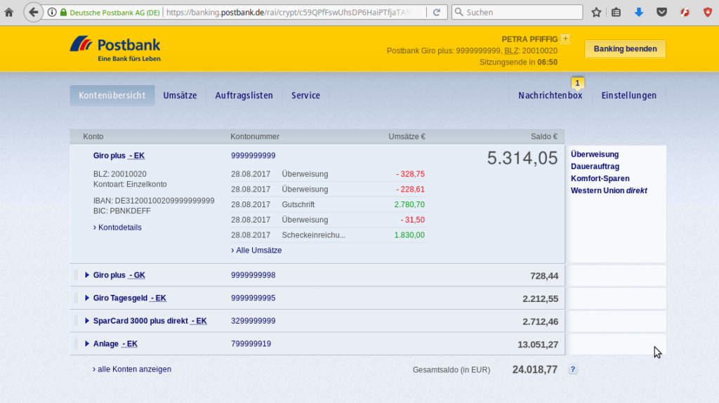 Online-Banking-Software Postbank Demo