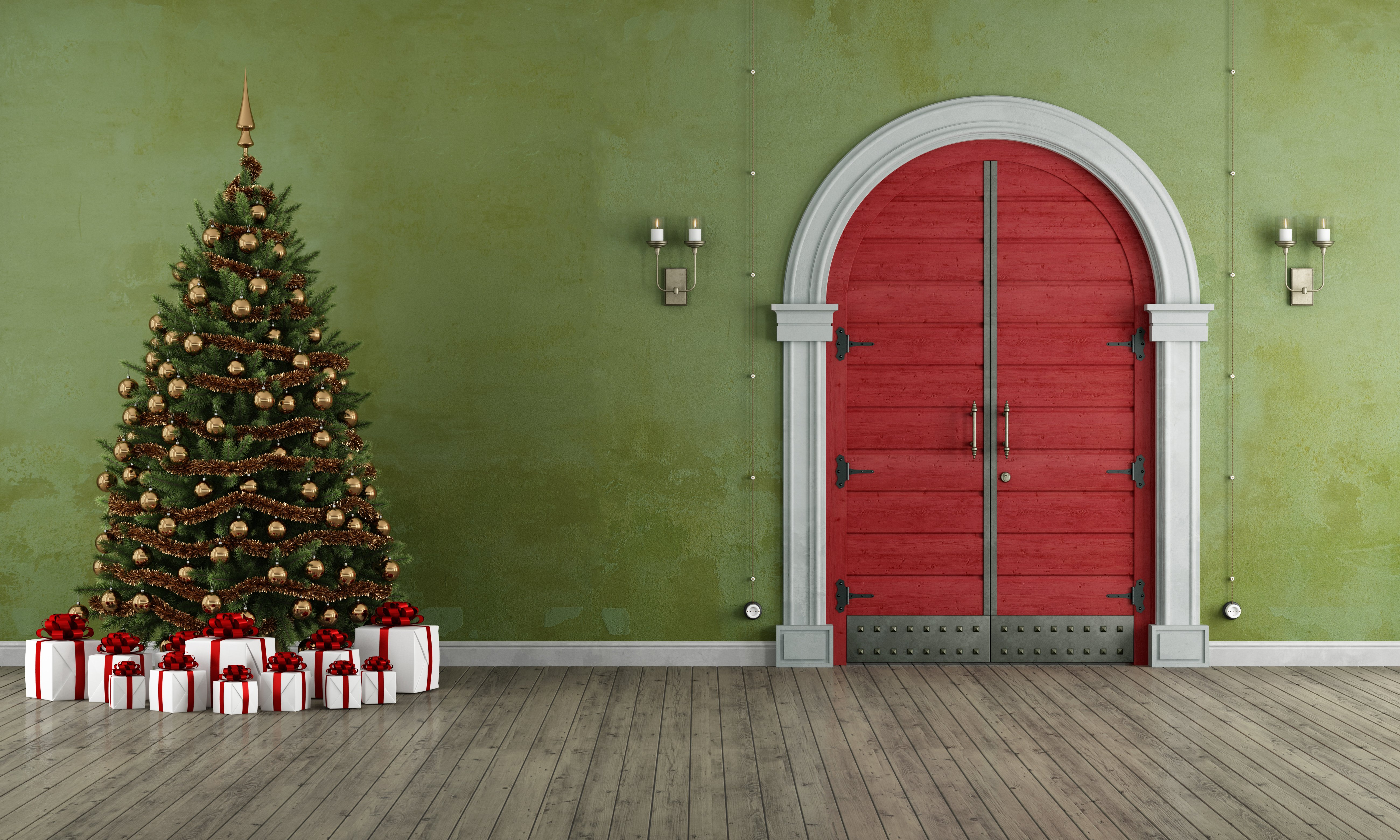 Vintage entrance with christmas tree