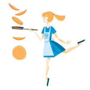 illustration einer blonden crepes-bäckerin